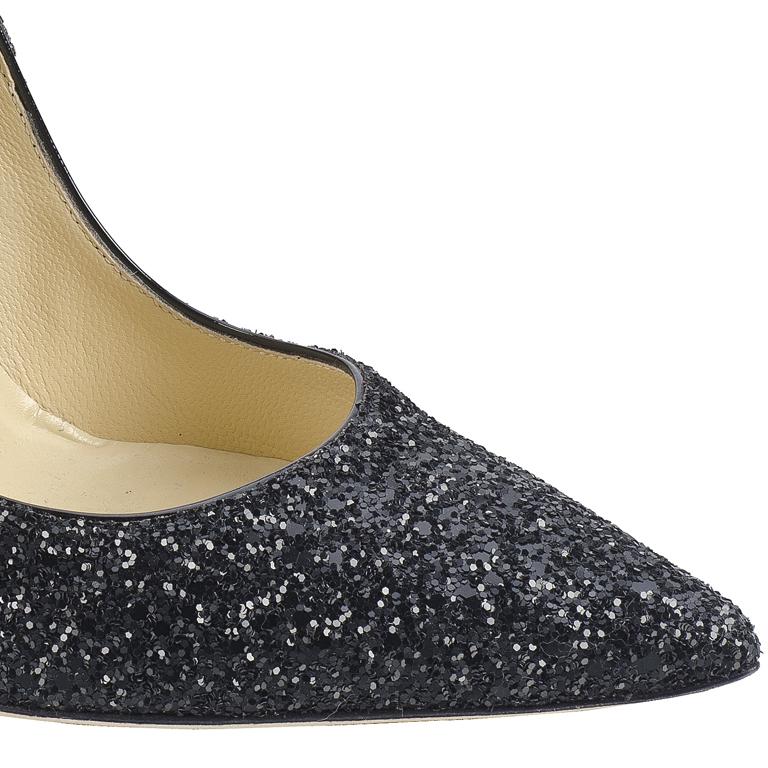 Jimmy Choo2013黑色闪光面料尖头高跟鞋