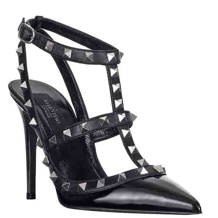 Valentino华伦天奴NOIR系列黑色及踝亮面凉鞋