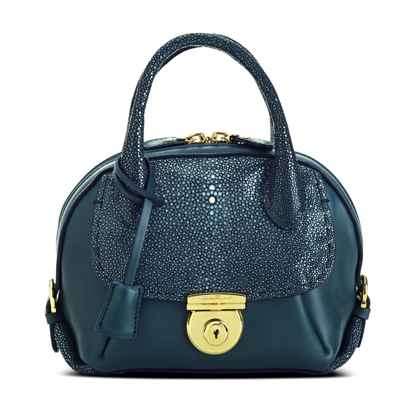 Ferragamo FIAMMA迷你风格系列黑色珍珠鱼皮拼接小牛皮手袋
