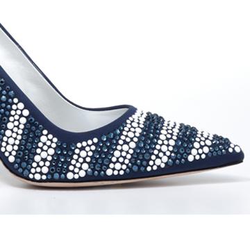 Manolo blahnik全镶嵌水晶蓝白拼色浅口高跟鞋
