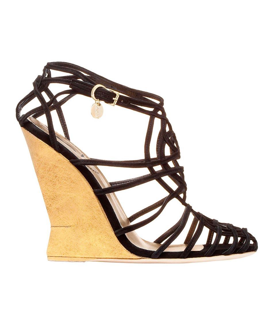 圣罗兰YSL黑色麂皮金色坡跟凉鞋