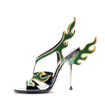 普拉达Prada绿色火焰高跟鞋