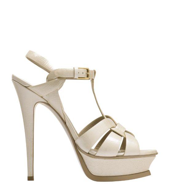 圣罗兰YSL白色皮质凉鞋