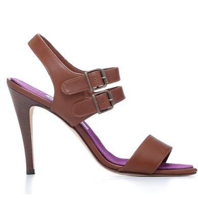 Manolo Blahnik棕色皮革双调节绑带高跟凉鞋