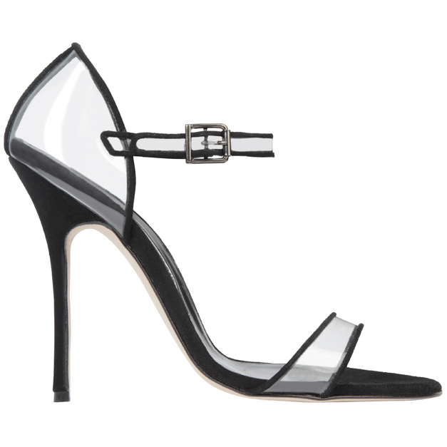 Manolo Blahnik黑色拼接透明高跟凉鞋