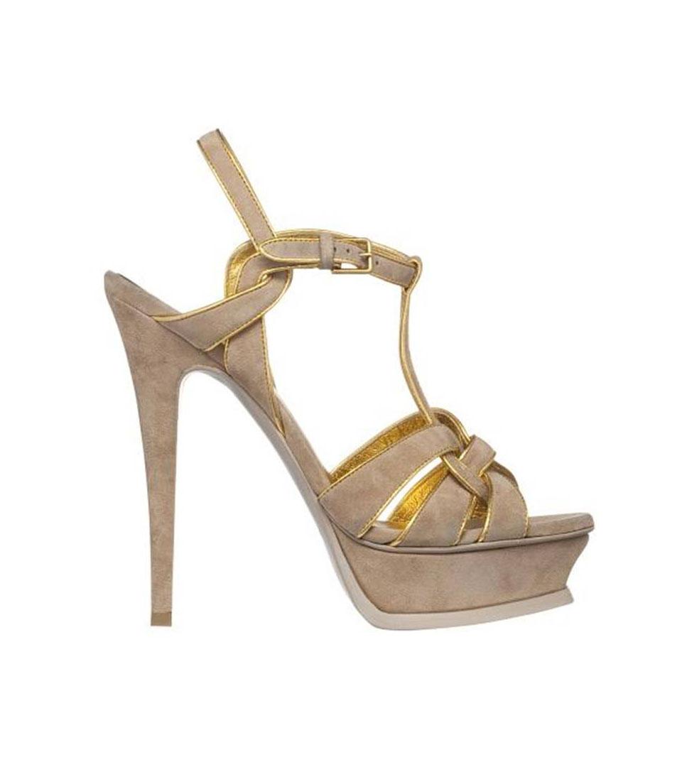 圣罗兰YSL水台底米色麂皮高跟凉鞋
