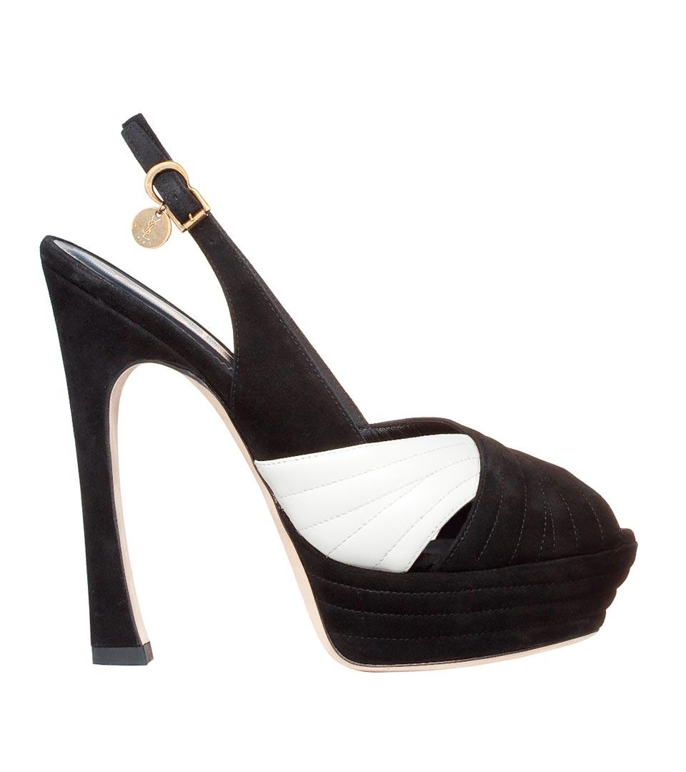 圣罗兰YSL象牙黑色水台底麂皮高跟凉鞋