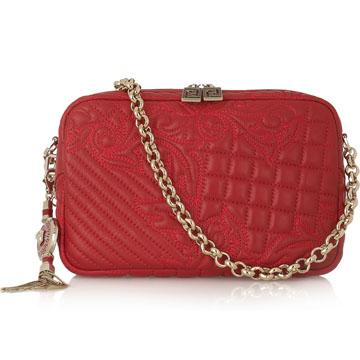 范思哲Versace刺绣皮质单肩包