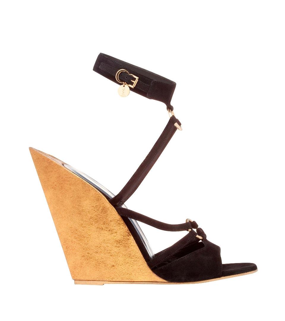 圣罗兰YSL金色坡跟黑色麂皮凉鞋