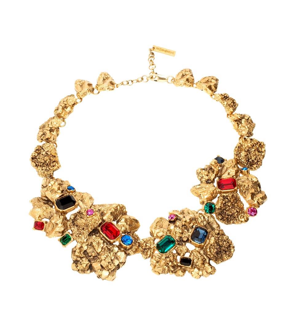 Yves Saint Laurent做旧宝石金色项链