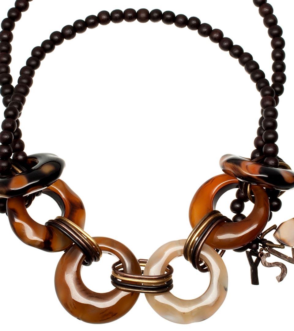 Yves Saint Laurent LEOPARD玛瑙木项链
