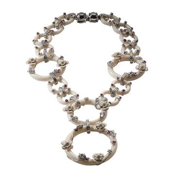 普拉达(Prada)2013年Donna系列象牙白环绿色花朵项链