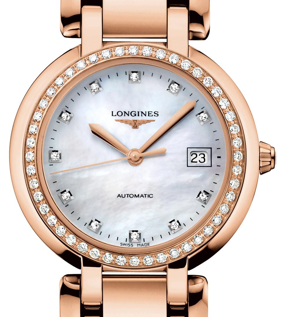 浪琴Longines玫瑰金鑲鑽腕表