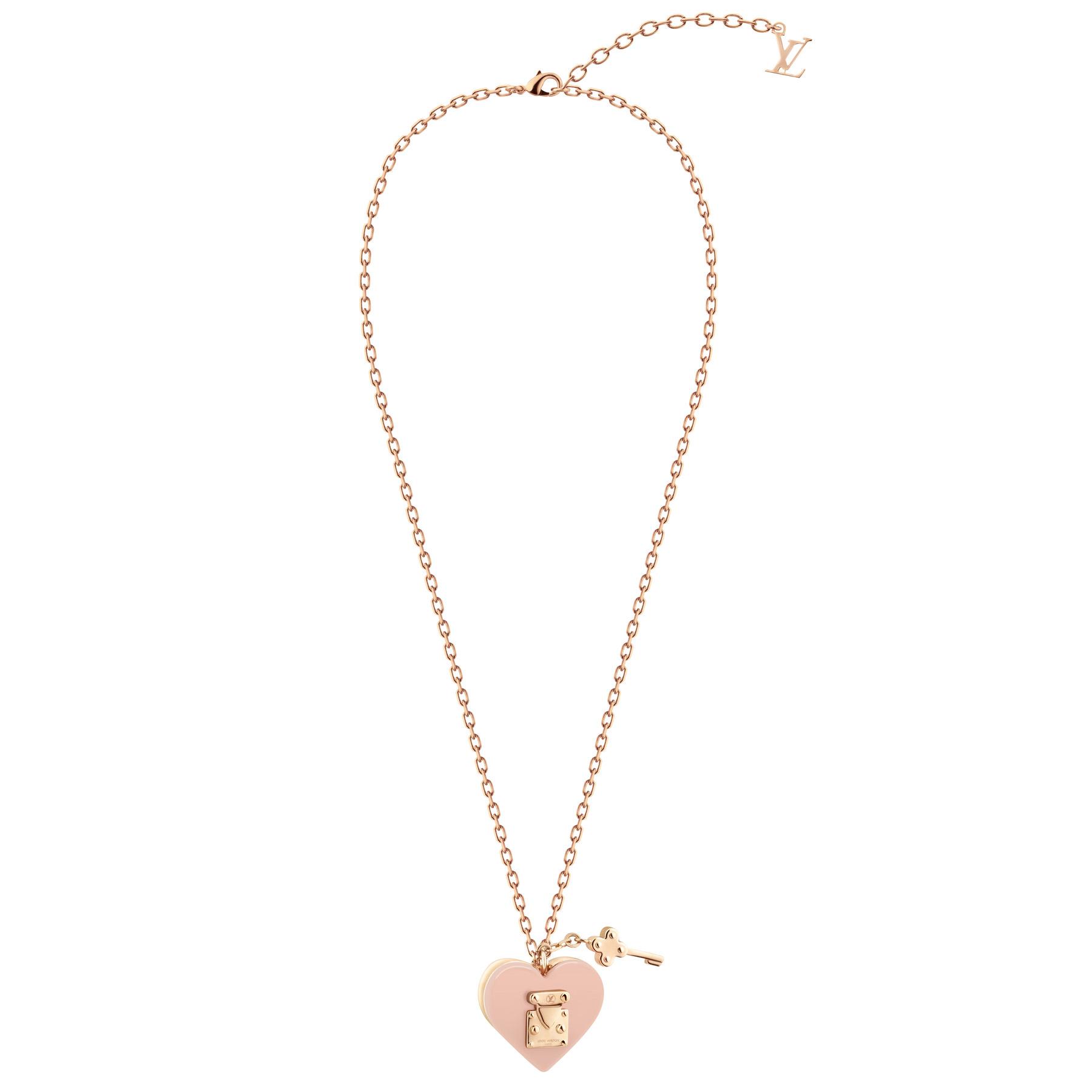 Louis Vuitton Lock Me 系列淡粉色桃心项链