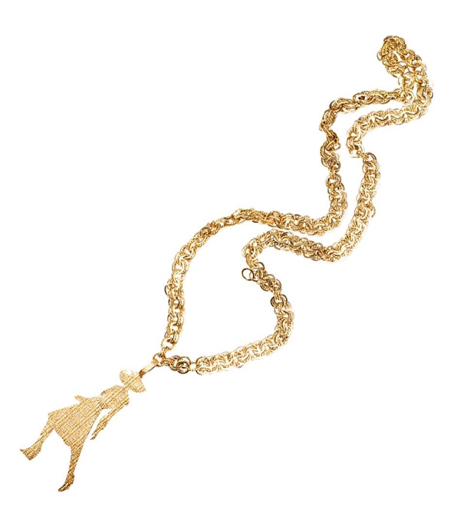 Yves Saint Laurent金色肖像吊坠项链