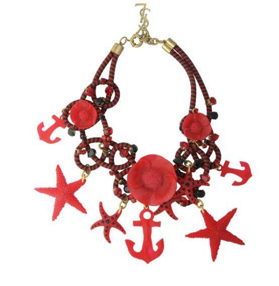 Yves Saint Laurent红色海心锚装饰构件组合项链