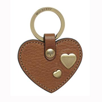 Mulberry树皮褐心形钥匙扣