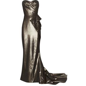 Marchesa 金属感垂坠礼服