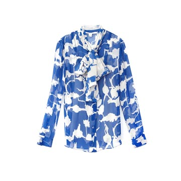 DVF 蓝色印花雪纺衬衫