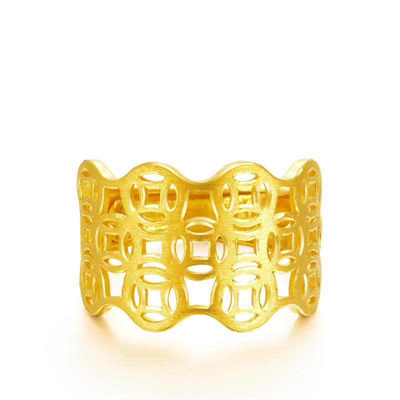 铜钱女款女士镂空女戒指活口