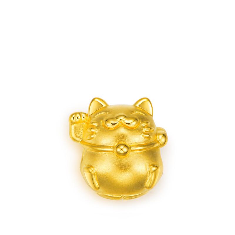 足金3D招财猫转运珠 黄金手链配件
