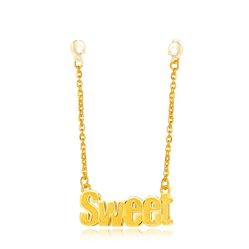 足金 黄金套链 sweet甜蜜字母链