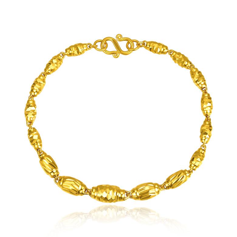足金 橄榄形 转运珠 黄金手链