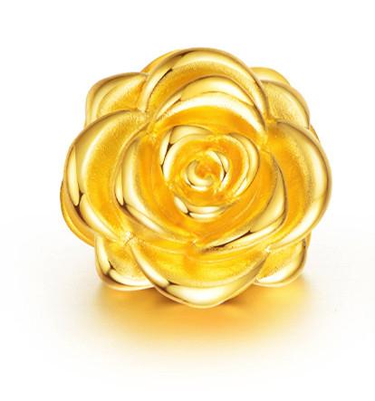 足金玫瑰花 花枝招展3D硬金黄金转运珠
