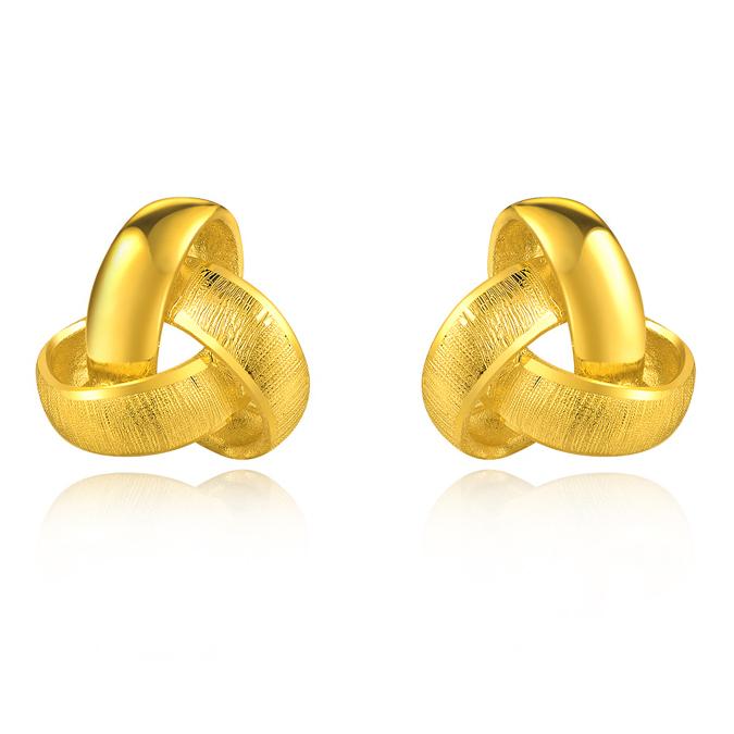 足金 女士耳钉 黄金耳钉