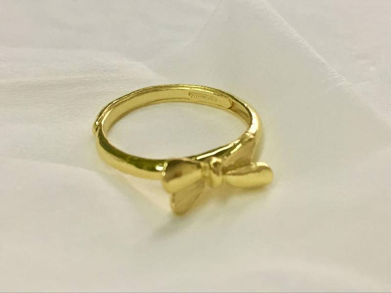 黄金戒指 女款足金蝴蝶戒指