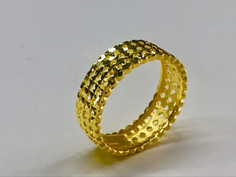 足金 镂空黄金戒指 女款戒指