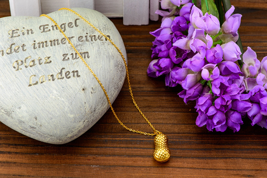 花生黄金吊坠 足金项链 送宝宝