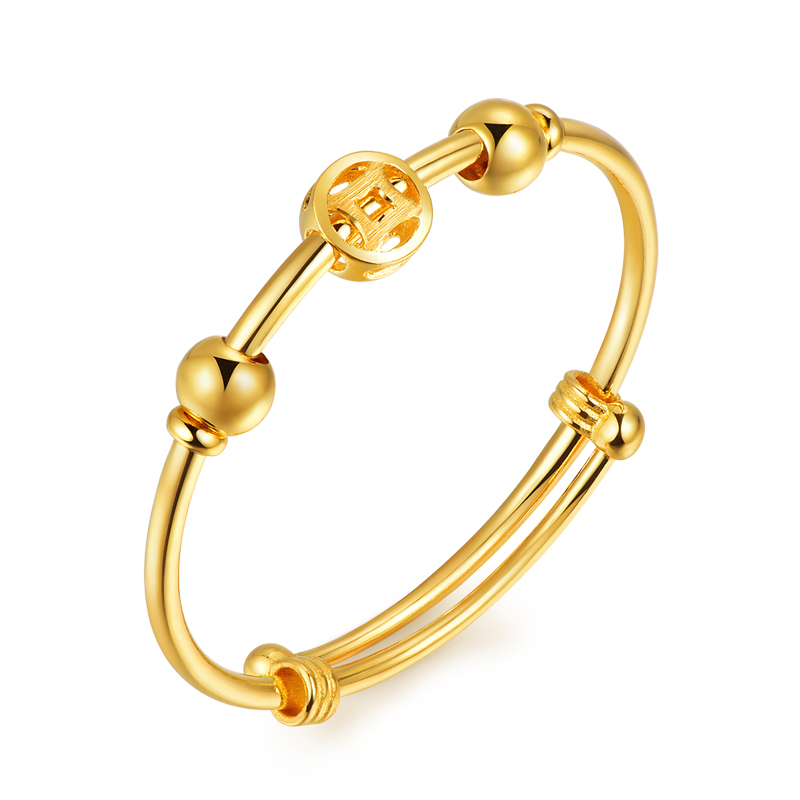 足金 宝宝款 铜钱光面抽拉 黄金手环