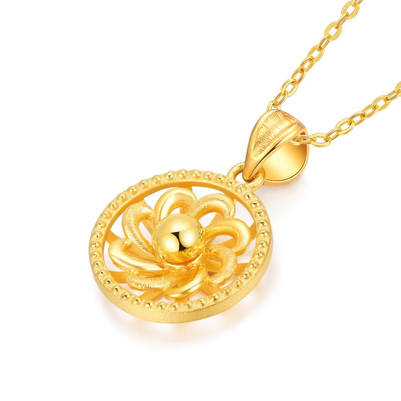 足金 黄金吊坠 女款花朵拉丝风车吊坠
