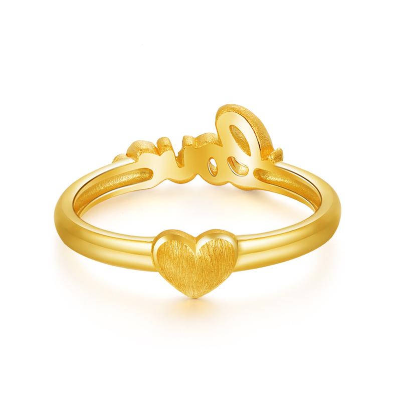 黄金戒指 女士 足金爱心字母尾戒