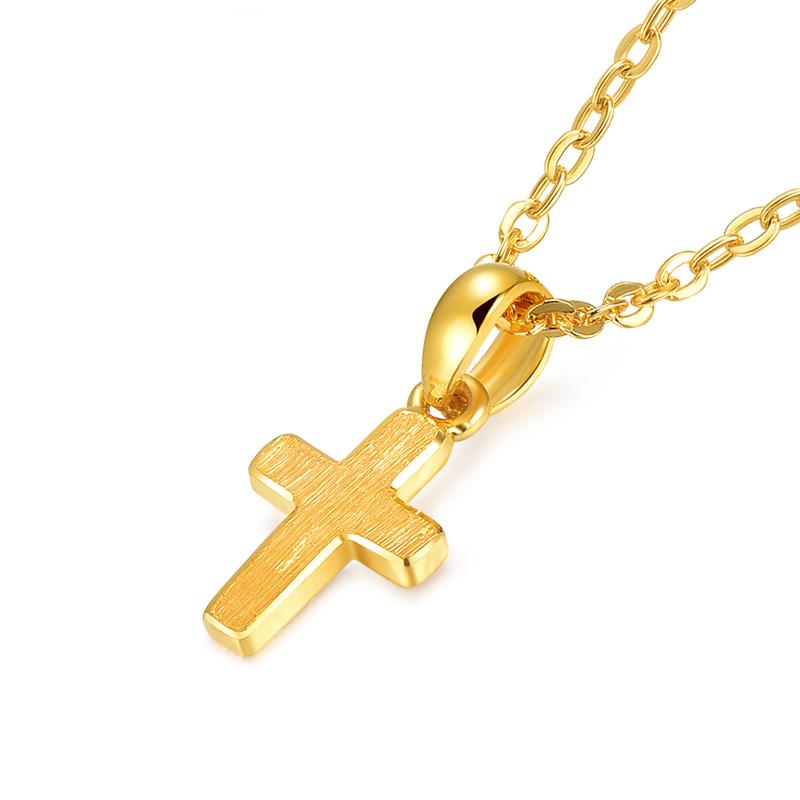足金 黄金套链 女款十字架套链 项链送礼